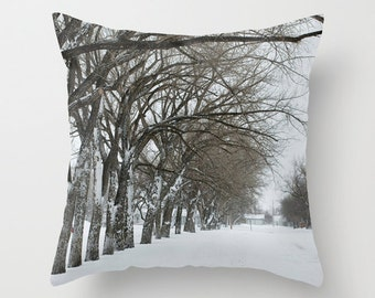 Winter Pillow Cover, Rustic Home Decor, Aluminum, White, Gray, Decorative Cushion Case, Frosted Branches, Snow, Man Cave, Handmade in Canada