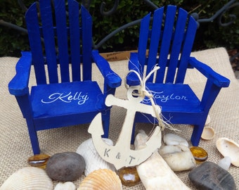 Beach Lake Wedding Personalized Chairs with anchor, Cake Topper, Wedding Decor,Guest book,Personalized