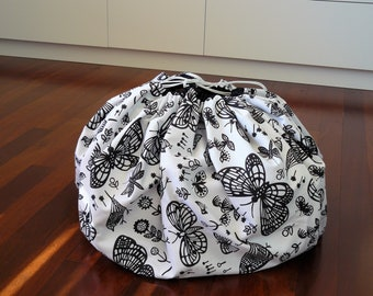 Play and Store Mat - black and white butterflys