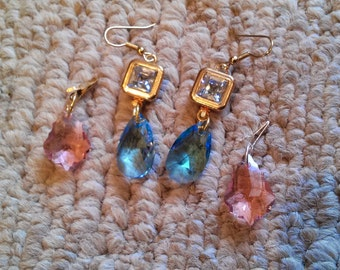 Silver squared earrings with crystal blue center and interchangable pink and aquamarine drops. 3 pairs of earrings in 1!