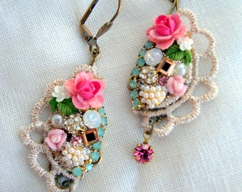 earrings lace and rose garden and crystal