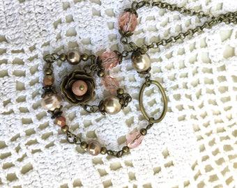Vintage brass necklace pink beaded necklace romantic florish necklace