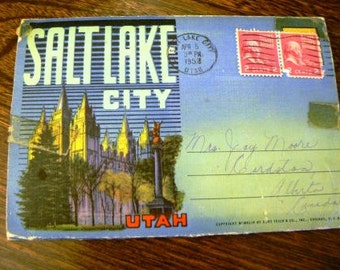 vintage ephemera ... SALT LAKE CITY Utah retro vintage  Postcard Group Stamped  ...