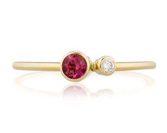 Pink Tourmaline Ring, 14K Gold Tourmaline and Canadian Diamond Ring, Birthstone Ring, Gift for Her, October Birthstone