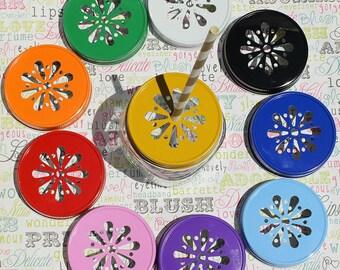 24 Mason Jar Lids in Daisy Design, Wedding Mason Jar Lids, Mason Jar Lids for Kids Party Drinks, Party Favor Jar Lids, Daisy Mason Jar Lids