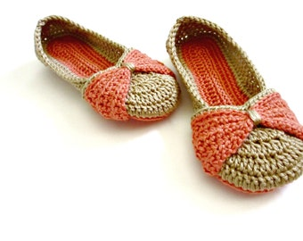 Women's Slippers - Bow Slippers - Double sole crocheted slippers - peach coral pink tan slippers - custom made