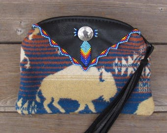 Native American Beaded Pouch made with Deer Hide and Pendleton® Wool Beaded Beaded Zipper Coin Pouch Beaded Coin Purse