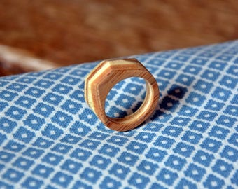 Faceted bamboo ring