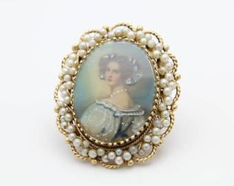 Stunning Antique Portrait Pendant Brooch With Seed Pearls in 14K Yellow Gold. [12008]