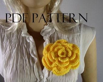 CROCHET FLOWER PATTERN Pin Embellishment Brooch flower pin pattern pdf pattern instant download