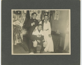Vintage Mounted Snapshot Photo: Costumes, Early 1900s (79606)