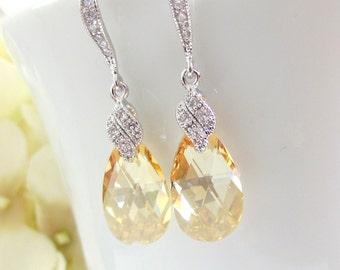 Crystal Earrings, Golden Crystal, Swarovski Golden Shadow, Bridal Earrings, CZ Sparkle, Bridesmaids Earrings,Champagne Crystal Drop Earrings