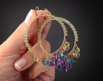 Multi Gemstone Earrings Hoop Earrings Gemstone Earrings Purple Earrings Gold Hoops Large Hoops Statement Earrings Gemstone Hoops