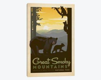 Great Smoky Mountains Art Print, Great Smoky Mountain National Park, Canvas Wall Art, North Carolina Tennessee, Blue Ridge Mountain Poster