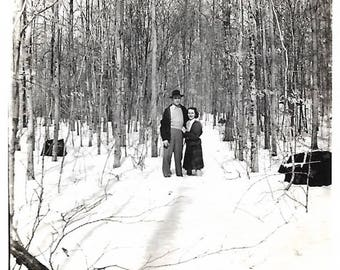 """Vintage Snapshot """"Up To Her Knees"""" Bare-Legged Woman Stands In Snow Next To Tall Husband Perspective Found Vernacular Photo"""