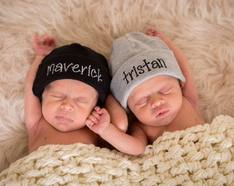 Name Hats for Twins Custom Embroidered Monogrammed Personalized Set of TWO Beanies