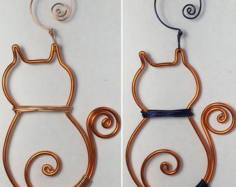 Orange-colored Aluminum Wire Cat Ornament