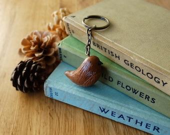 By the Shed Wren Bird Keyring - Brown - Birds, Garden, Allotment, Jenny Wren - Gift, Present - Bird Watching, Sparrow - Key Chain, Charm