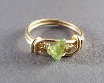 Raw Peridot Wire Wrapped Gold Ring