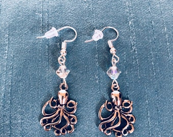 Octopus and AB crystal earrings