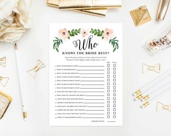 Instant Download - Romantic Vines Who Knows the Bride Game Cards