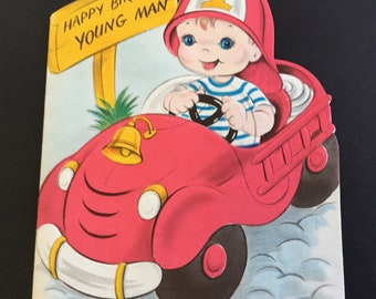 Vintage child's birthday greeting card, Little fireman, By Greetings Inc