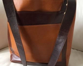 Brown distress and Caramel Italian leather