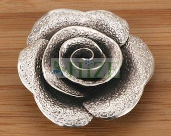 HIZE SF127 Thai Karen Hill Tribe Silver Textured Rose Flower Focal Pendant 40mm