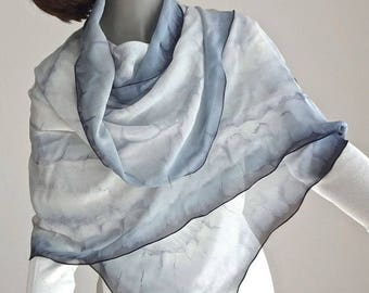 White Black Gray Wrap, Hand Painted Shawl Coverup, Unique Chiffon Wrap, Formal Evening, Artisan Handmade, Hand Dyed, One of a Kind, Jossiani