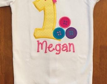 Cute as a Button Birthday Shirt or Baby Bodysuit