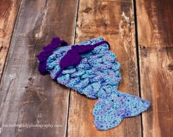 Baby Girl Mermaid Outfit, Newborn Mermaid Costume, Newborn Mermaid Cocoon, Infant Mermaid Tail, Baby Mermaid Set, Baby Halloween Costume,