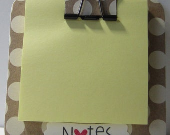 Polka Dots Magnetic Coaster Sticky Note Holder