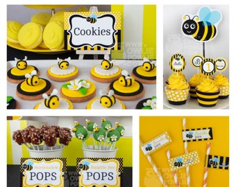 Bumble bee BIRTHDAY Party Printable Package & Invitation, INSTANT DOWNLOAD, You Edit Yourself with Adobe Reader