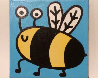 Happy Bee 6x6 Original Minipop Painting