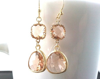 Peach Champagne Earrings, wedding earrings, Drop Peach Dangle Earrings cocktail, statement, Wedding Bridal Bridemaids Gifts