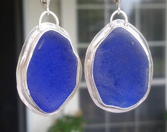 Huge Cobalt Blue Sea Glass Earrings. Genuine Sea Glass and Sterling Silver Earrings. Handmade Bezel Set Sea Glass Sterling Silver Earrings.