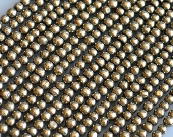 Pyrite Beads Round Shape Natural Color Size 3.5mm 14 inches Approx. 120pc