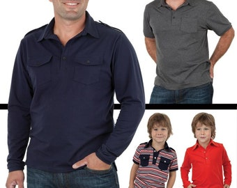Jalie Men's & Boys' Polo Shirts Sewing Pattern # 3137 Short or Long Sleeves in 27 Sizes