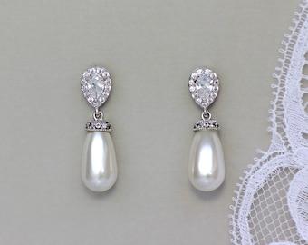 Bridal Earrings, Pearl Drop Earrings, Pearl Bridal Earrings, Ivory Pearl Earrings, Silver Earrings, AUDREY 2
