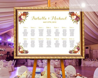 Printable Wedding Seating Chart, Table Chart, Guest List, Digital File, Watercolor, Floral Seating Chart, Burgundy, Marsala, jadorepaperie