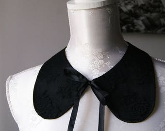 Lace collar necklace in black with ribbon round shape detachable removeable accessories for women two-sided laced collar peter pan romantic