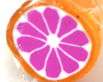 Pink Grapefruit Cane, Polymer Clay Citrus Fruit Cane Raw Unbaked