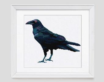 Cross stitch pattern, Crow cross stitch pattern, crow counted cross stitch, raven cross stitch