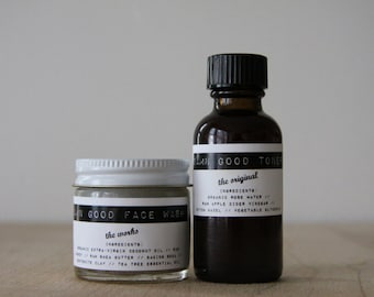 Damn Good {Travel-sized} Set: The Works Face Wash + Toner (of your choice) -- 100% natural skin care