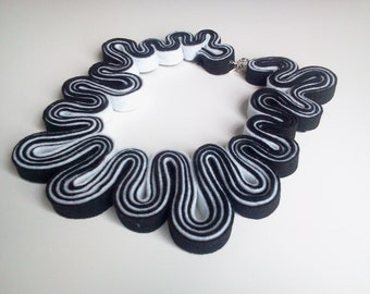 Statement Necklace Felt Necklace Felted Jewelry Recycled Eco Friendly Felt Bib Necklace In Black and White