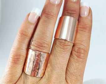 Rose Gold Ring, Handmade Ring, Wide Band Ring,  Cigar Ring, HAmmered Ring, Champagne Collection, cigar band ring