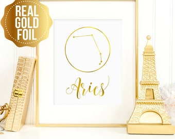 Aries print, Aries constellation, Gift for Aries, Aries Zodiac, Aries real gold foil print, Aries constellation art, real gold foil wall art