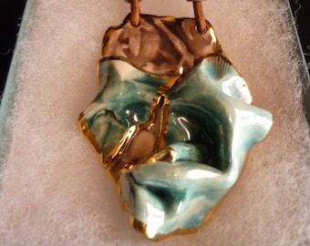 Vintage Ceramic statement pendant free form clay Necklace rustic contemporary pottery necklace modern art jewelry