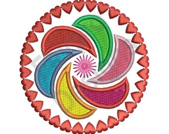 Hearts Pinwheel - Machine Embroidery Design