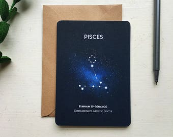 PISCES postcard. pisces constellation star sign zodiac astrology astronomy - pisces card stationery gift birthday - pisces star sign